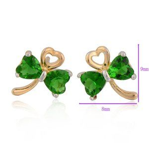 Jewelry - Earrings, Green and Gold Hearts-studs- Valentine
